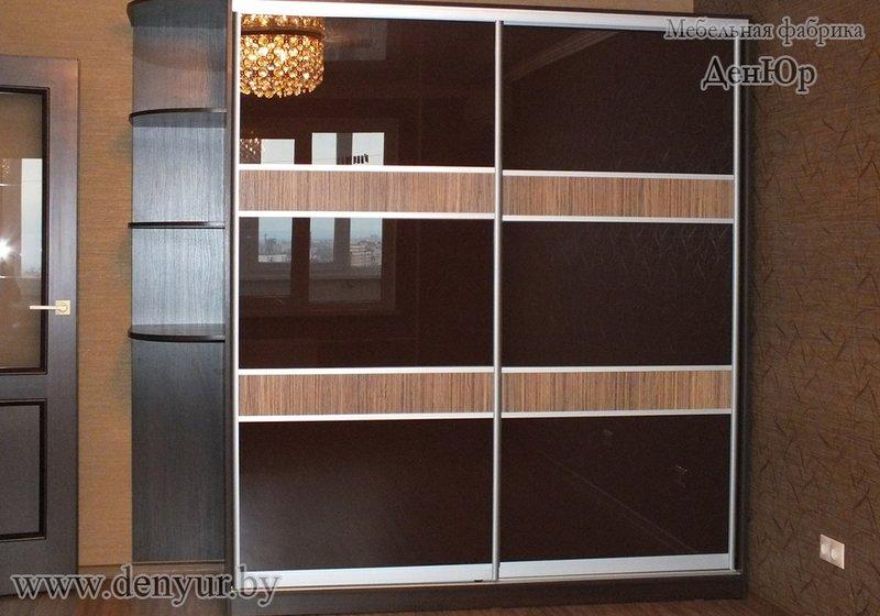 корпусный двухстворчатый шкаф купе со створками из стекла и лдсп